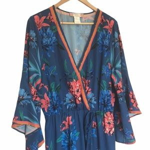 Flying Tomato Blue floral maxi dress 1X